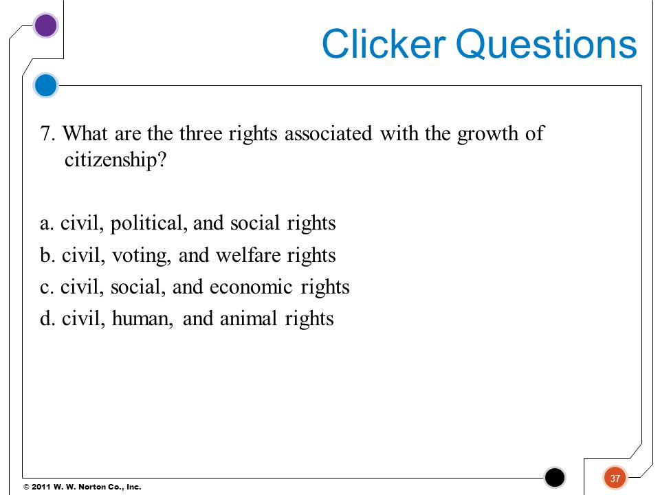 © 2011 W. W. Norton Co., Inc. Clicker Questions 7. What are the three rights associated with the growth of citizenship? a. civil, political, and socia
