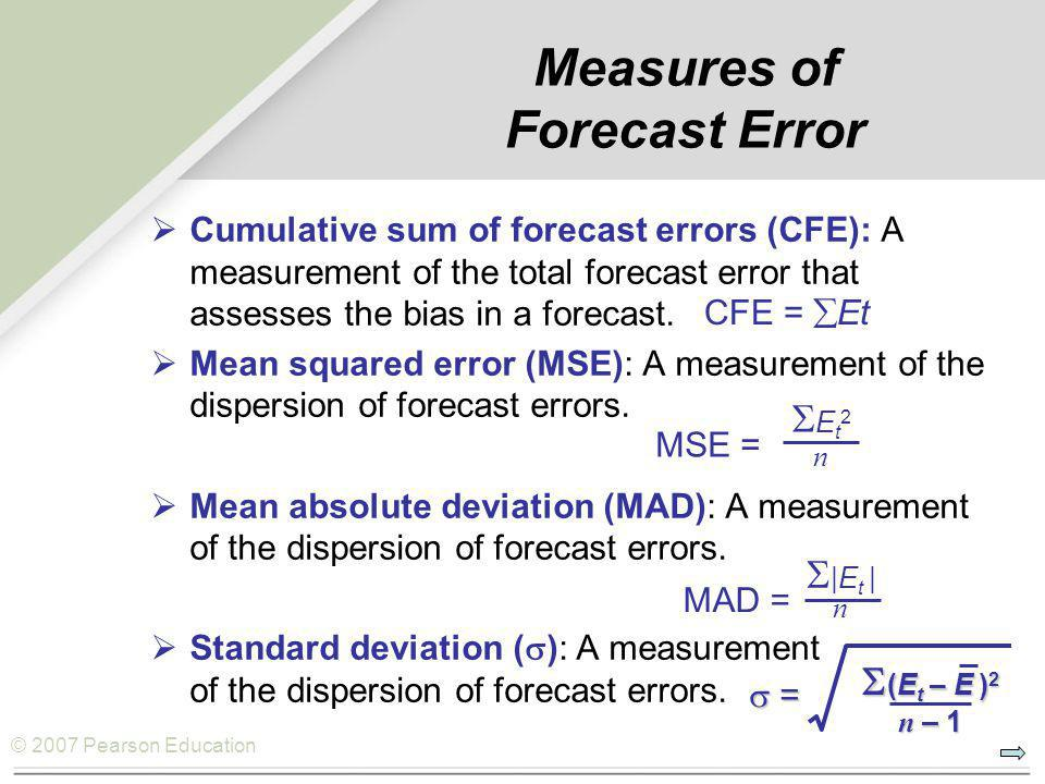 © 2007 Pearson Education Measures of Forecast Error  Cumulative sum of forecast errors (CFE): A measurement of the total forecast error that assesses
