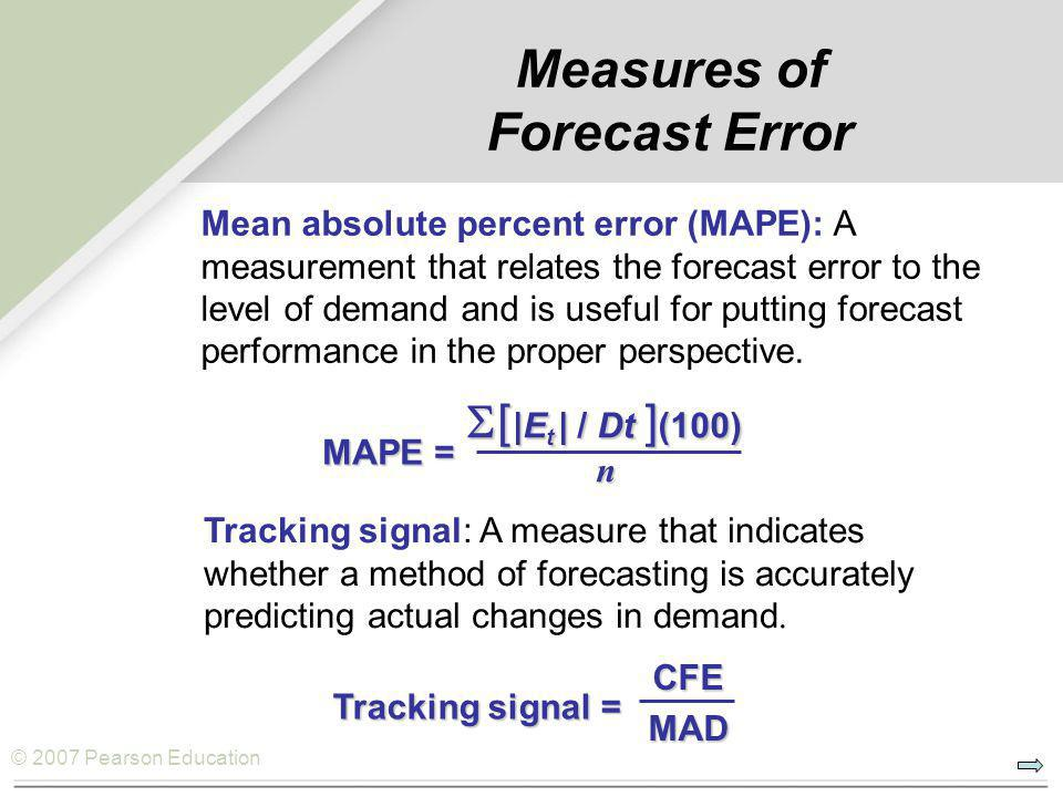 © 2007 Pearson Education MAPE =  [ |E t | / Dt ] (100) n Measures of Forecast Error Mean absolute percent error (MAPE): A measurement that relates the forecast error to the level of demand and is useful for putting forecast performance in the proper perspective.
