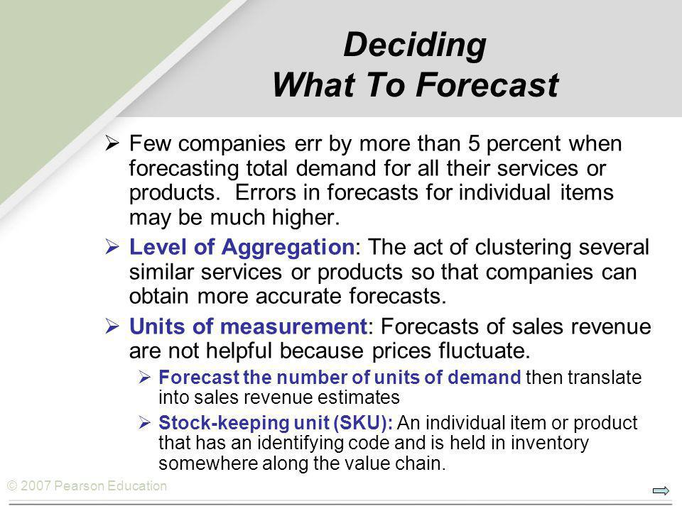 © 2007 Pearson Education Forecasting Error  For any forecasting method, it is important to measure the accuracy of its forecasts.