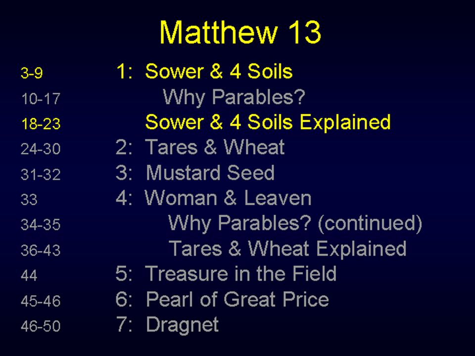 Matthew 13:31-32 31 Another parable put he forth unto them, saying, The kingdom of heaven is like to a grain of mustard seed, which a man took, and sowed in his field: 32 Which indeed is the least of all seeds: but when it is grown, it is the greatest among herbs, and becometh a tree, so that the birds of the air come and lodge in the branches thereof.