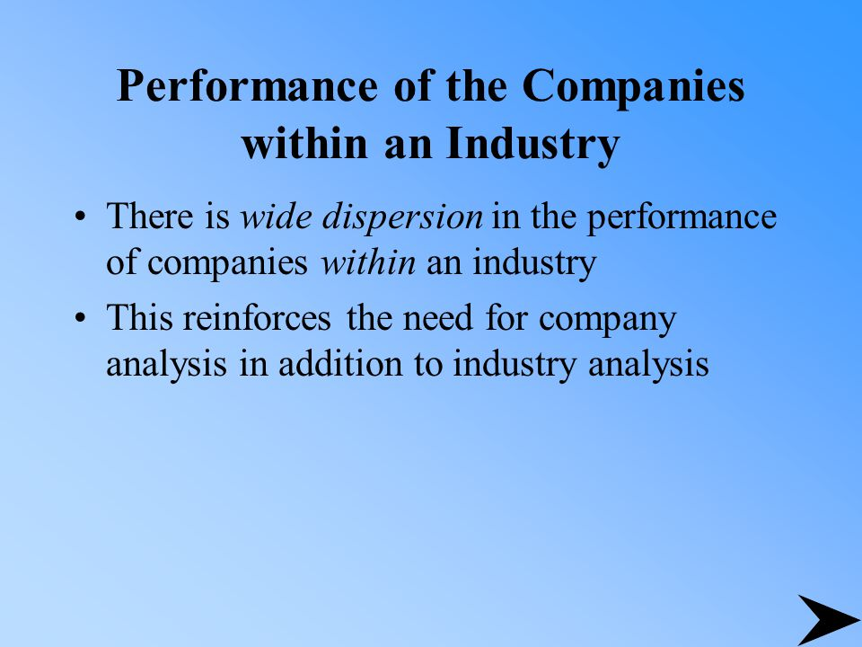 Performance of the Companies within an Industry There is wide dispersion in the performance of companies within an industry This reinforces the need for company analysis in addition to industry analysis