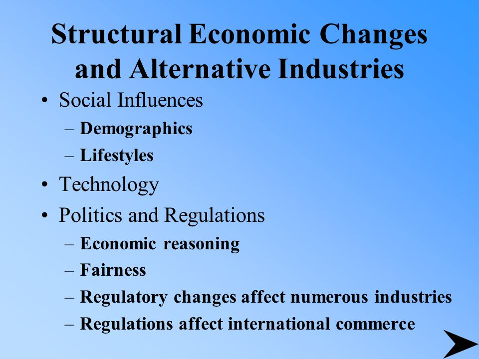 Structural Economic Changes and Alternative Industries Social Influences –Demographics –Lifestyles Technology Politics and Regulations –Economic reasoning –Fairness –Regulatory changes affect numerous industries –Regulations affect international commerce