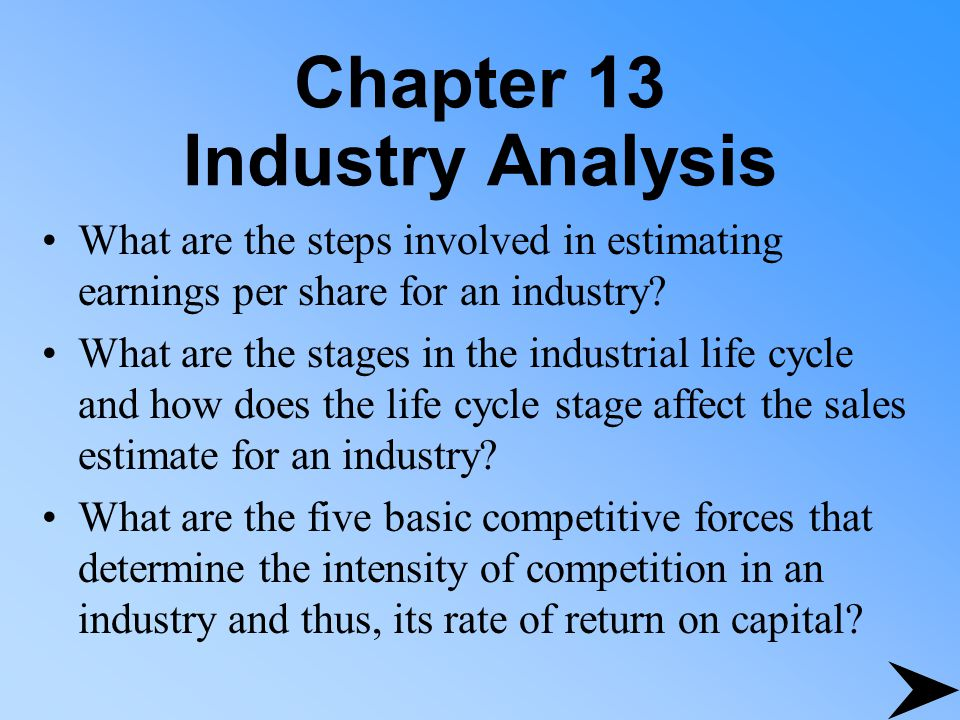 Chapter 13 Industry Analysis What are the steps involved in estimating earnings per share for an industry.