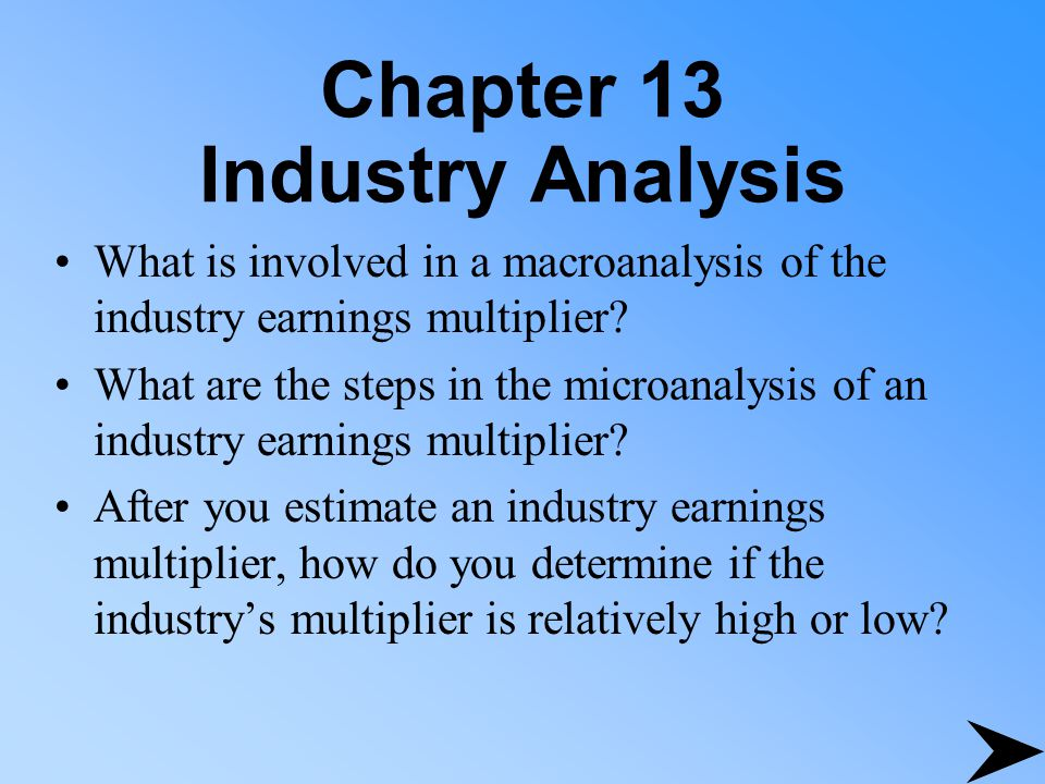 Chapter 13 Industry Analysis What is involved in a macroanalysis of the industry earnings multiplier.