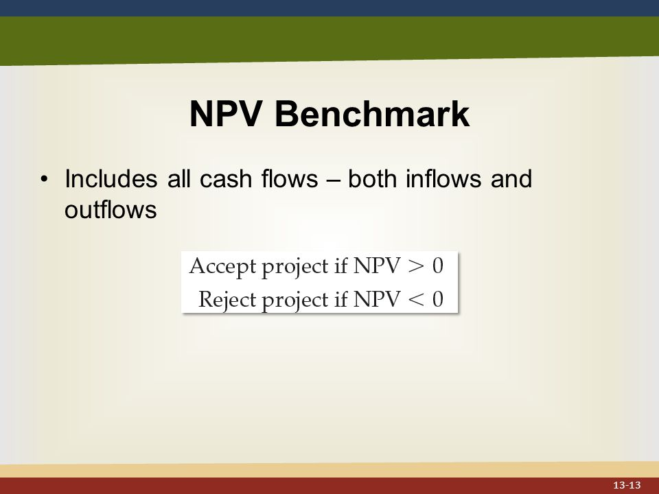 NPV Benchmark Includes all cash flows – both inflows and outflows 13-13