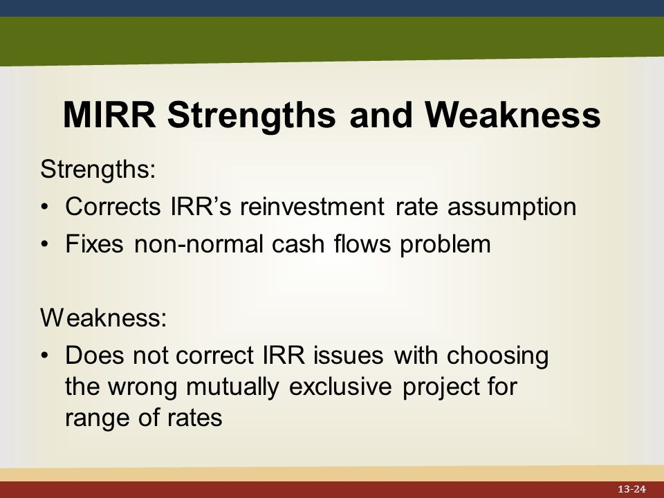 MIRR Strengths and Weakness Strengths: Corrects IRR's reinvestment rate assumption Fixes non-normal cash flows problem Weakness: Does not correct IRR issues with choosing the wrong mutually exclusive project for range of rates 13-24