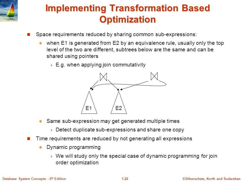 ©Silberschatz, Korth and Sudarshan1.22Database System Concepts - 6 th Edition Implementing Transformation Based Optimization Space requirements reduced by sharing common sub-expressions: when E1 is generated from E2 by an equivalence rule, usually only the top level of the two are different, subtrees below are the same and can be shared using pointers  E.g.