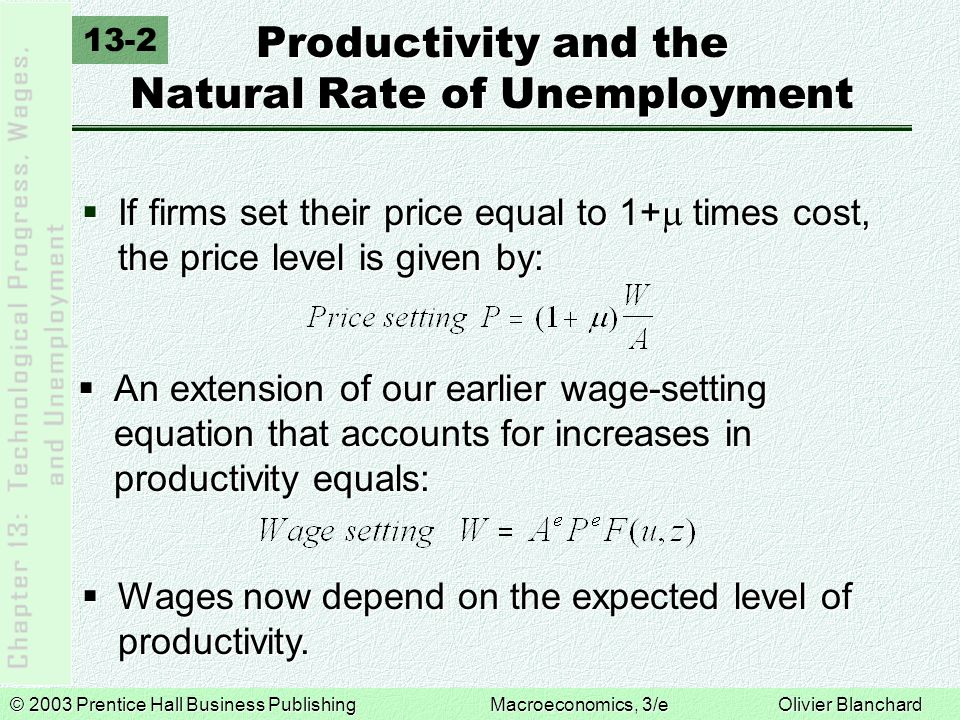 © 2003 Prentice Hall Business PublishingMacroeconomics, 3/e Olivier Blanchard Productivity and the Natural Rate of Unemployment  If firms set their price equal to 1+  times cost, the price level is given by: 13-2  An extension of our earlier wage-setting equation that accounts for increases in productivity equals:  Wages now depend on the expected level of productivity.
