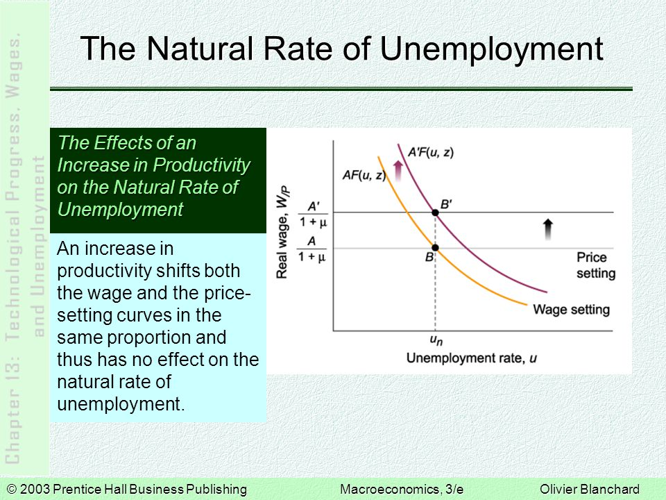 © 2003 Prentice Hall Business PublishingMacroeconomics, 3/e Olivier Blanchard The Natural Rate of Unemployment The Effects of an Increase in Productivity on the Natural Rate of Unemployment An increase in productivity shifts both the wage and the price- setting curves in the same proportion and thus has no effect on the natural rate of unemployment.