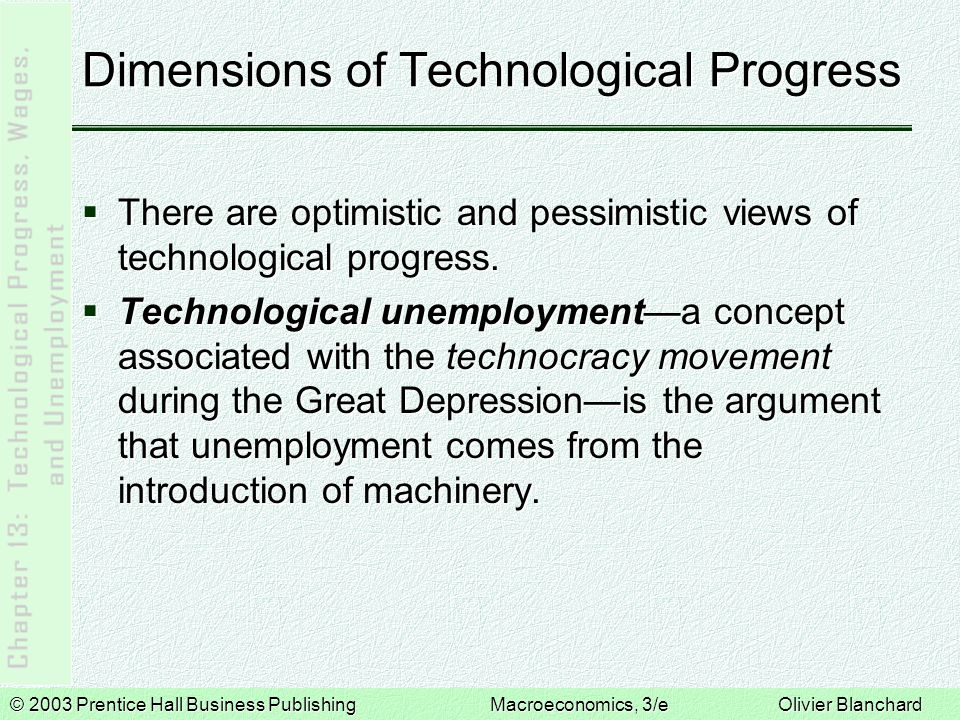 © 2003 Prentice Hall Business PublishingMacroeconomics, 3/e Olivier Blanchard Dimensions of Technological Progress  There are optimistic and pessimistic views of technological progress.