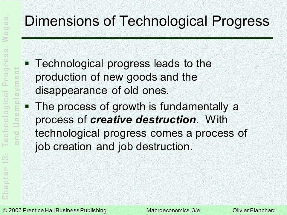 © 2003 Prentice Hall Business PublishingMacroeconomics, 3/e Olivier Blanchard Productivity, Output, and Unemployment in the Short Run  A production function with technological progress can be written as: 13-1  Leaving aside matters concerning capital, then:  Output is produced using only labor, N, and each worker produces A units of output.