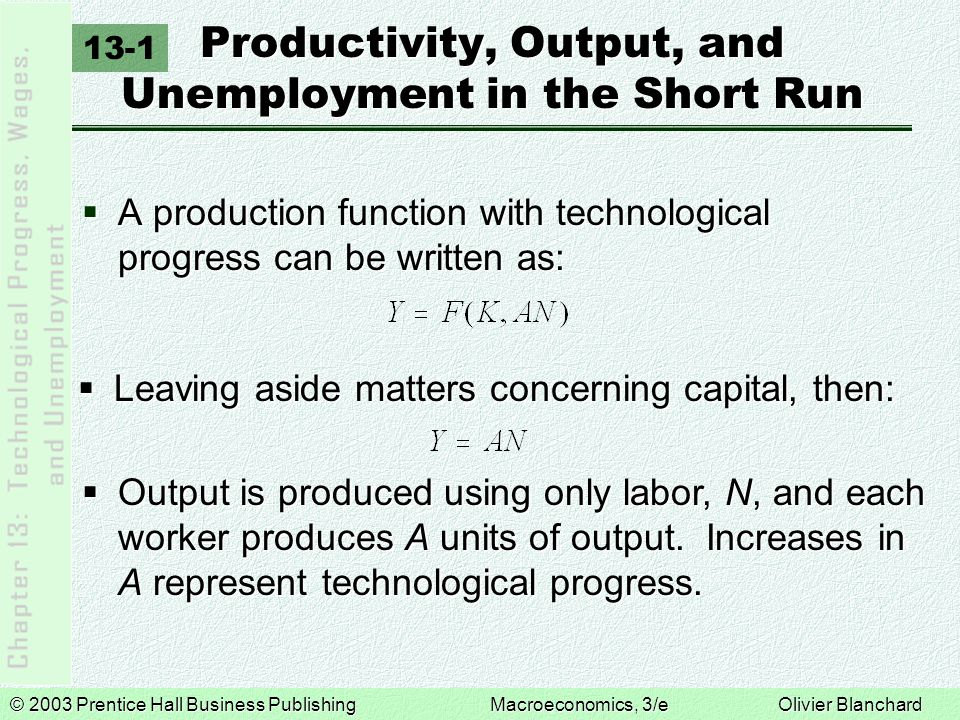 © 2003 Prentice Hall Business PublishingMacroeconomics, 3/e Olivier Blanchard European Unemployment, Productivity Growth, and Technological Change EU Unemployment and Inflation, 1970- 2001 Today, inflation is roughly stable in Europe.