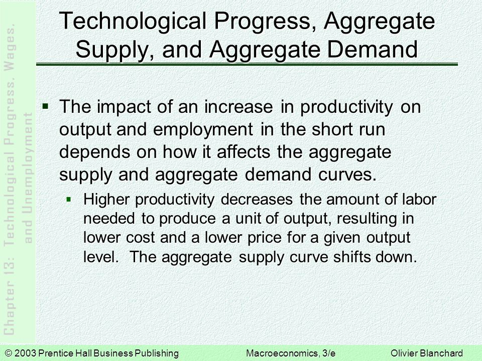 © 2003 Prentice Hall Business PublishingMacroeconomics, 3/e Olivier Blanchard Technological Progress, Aggregate Supply, and Aggregate Demand  The effects of higher productivity on aggregate demand depend on the source of the productivity increase:  Technological breakthroughs will bring prospects of higher profits and a boom in investment.