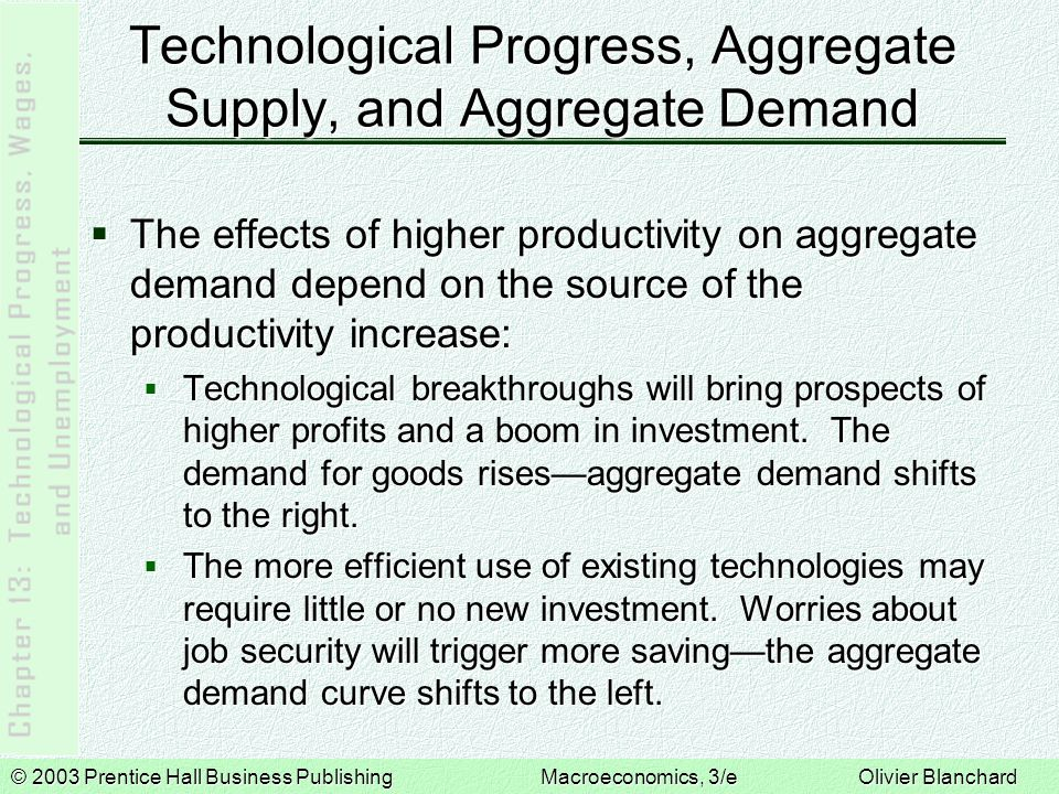 © 2003 Prentice Hall Business PublishingMacroeconomics, 3/e Olivier Blanchard Technological Progress, Aggregate Supply, and Aggregate Demand  The effects of higher productivity on aggregate demand depend on the source of the productivity increase:  Technological breakthroughs will bring prospects of higher profits and a boom in investment.