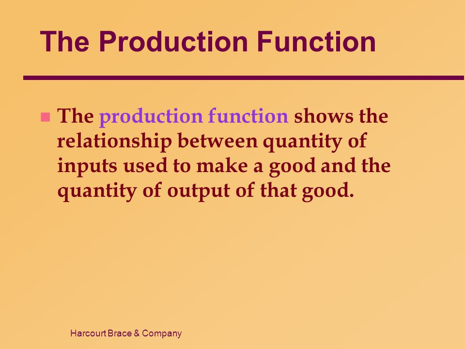 Harcourt Brace & Company The Production Function n The production function shows the relationship between quantity of inputs used to make a good and t