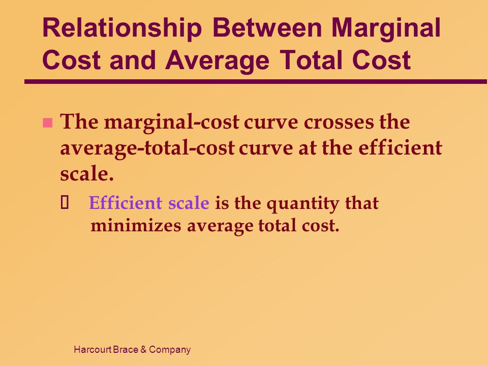 Harcourt Brace & Company Relationship Between Marginal Cost and Average Total Cost n The marginal-cost curve crosses the average-total-cost curve at t