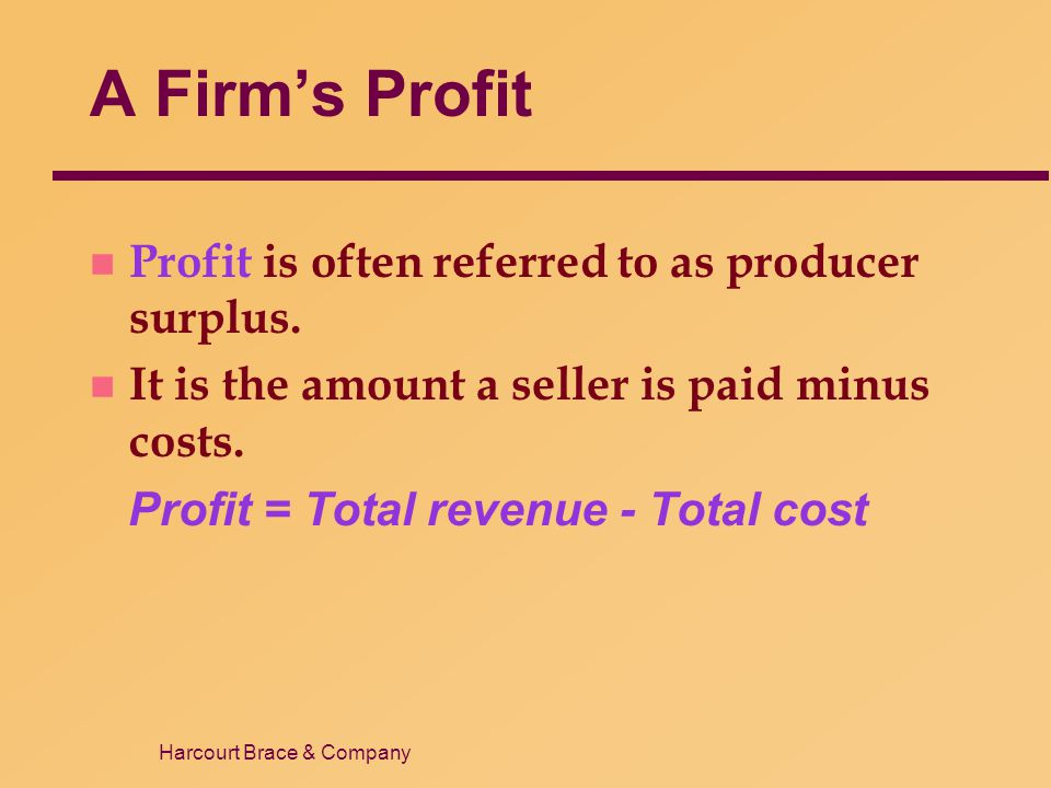 Harcourt Brace & Company A Firm's Profit n Profit is often referred to as producer surplus. n It is the amount a seller is paid minus costs. Profit =