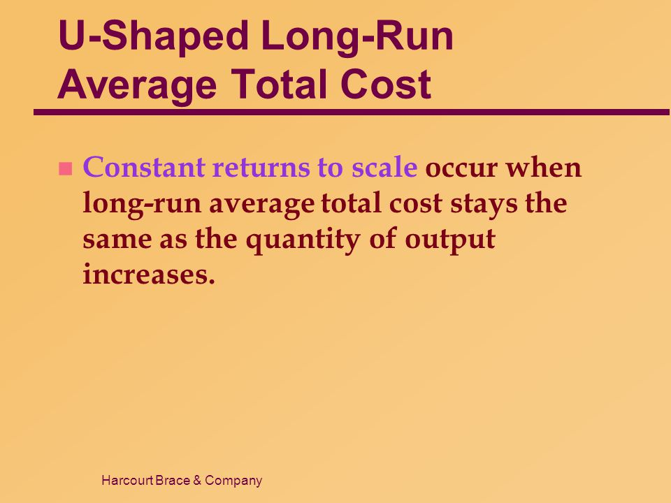 Harcourt Brace & Company U-Shaped Long-Run Average Total Cost n Constant returns to scale occur when long-run average total cost stays the same as the