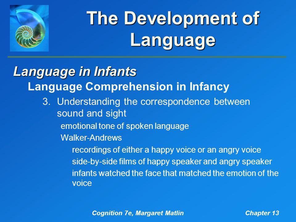 Cognition 7e, Margaret MatlinChapter 13 The Development of Language Language in Infants Language Comprehension in Infancy 3.Understanding the correspo