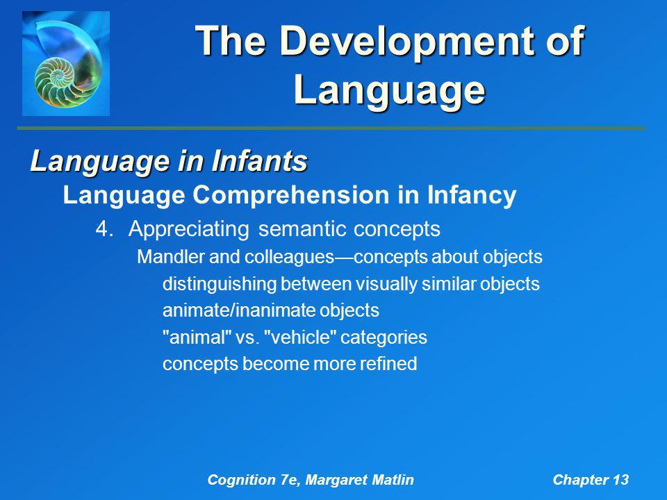 Cognition 7e, Margaret MatlinChapter 13 The Development of Language Language in Infants Language Comprehension in Infancy 4.Appreciating semantic conc