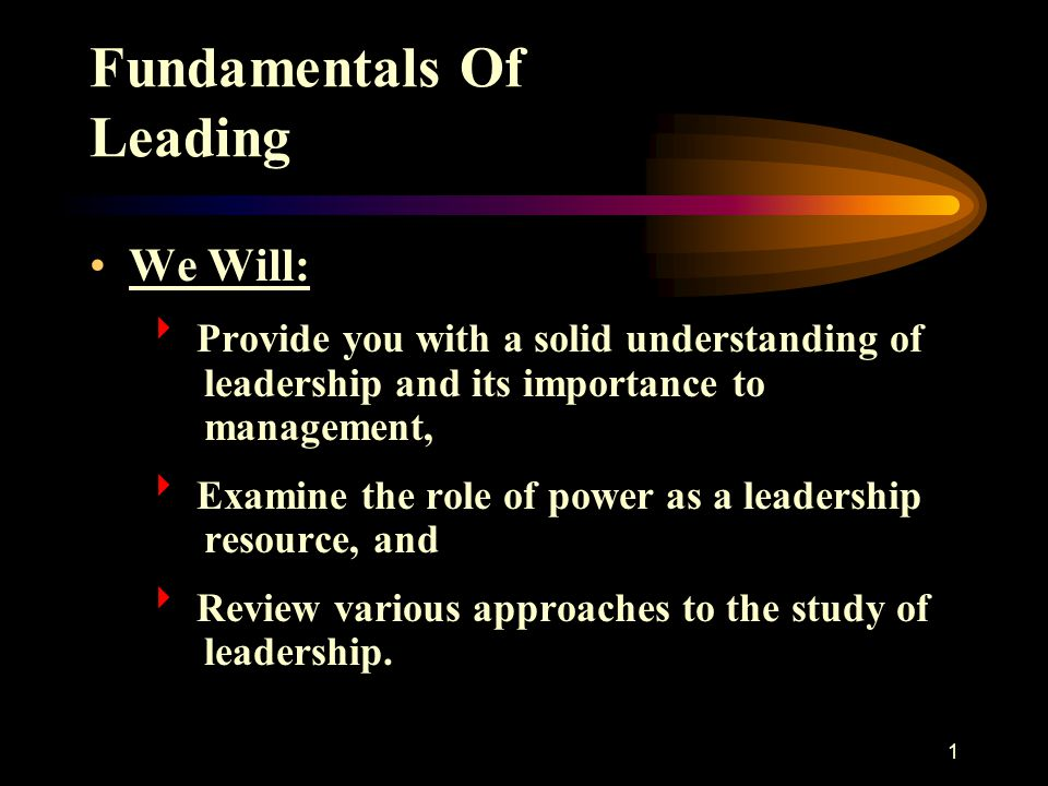 1 Fundamentals Of Leading We Will:  Provide you with a solid understanding of leadership and its importance to management,  Examine the role of powe