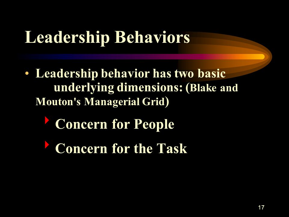 17 Leadership Behaviors Leadership behavior has two basic underlying dimensions: ( Blake and Mouton's Managerial Grid )  Concern for People  Concern