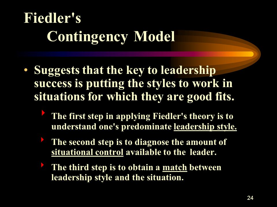 24 Fiedler's Contingency Model Suggests that the key to leadership success is putting the styles to work in situations for which they are good fits. 