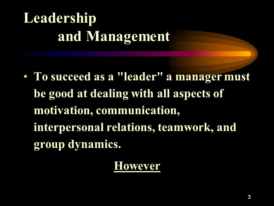 3 Leadership and Management To succeed as a