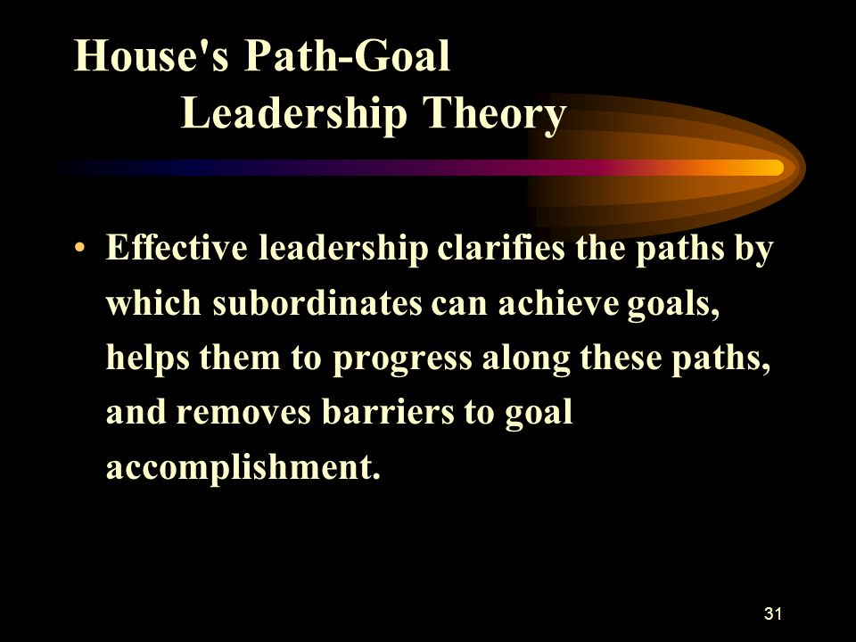 31 House's Path-Goal Leadership Theory Effective leadership clarifies the paths by which subordinates can achieve goals, helps them to progress along
