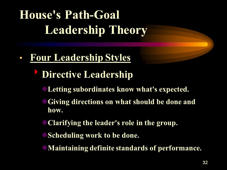 32 House's Path-Goal Leadership Theory Four Leadership Styles  Directive Leadership XLetting subordinates know what's expected. XGiving directions on