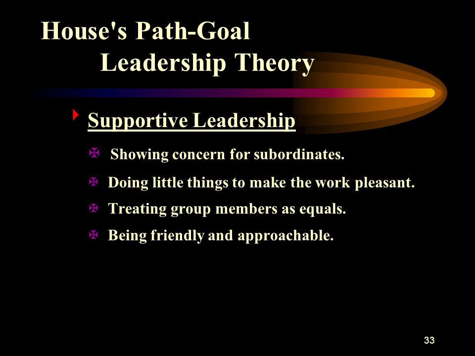 34 House s Path-Goal Leadership Theory  Achievement-Oriented Leadership X Setting challenging goals.