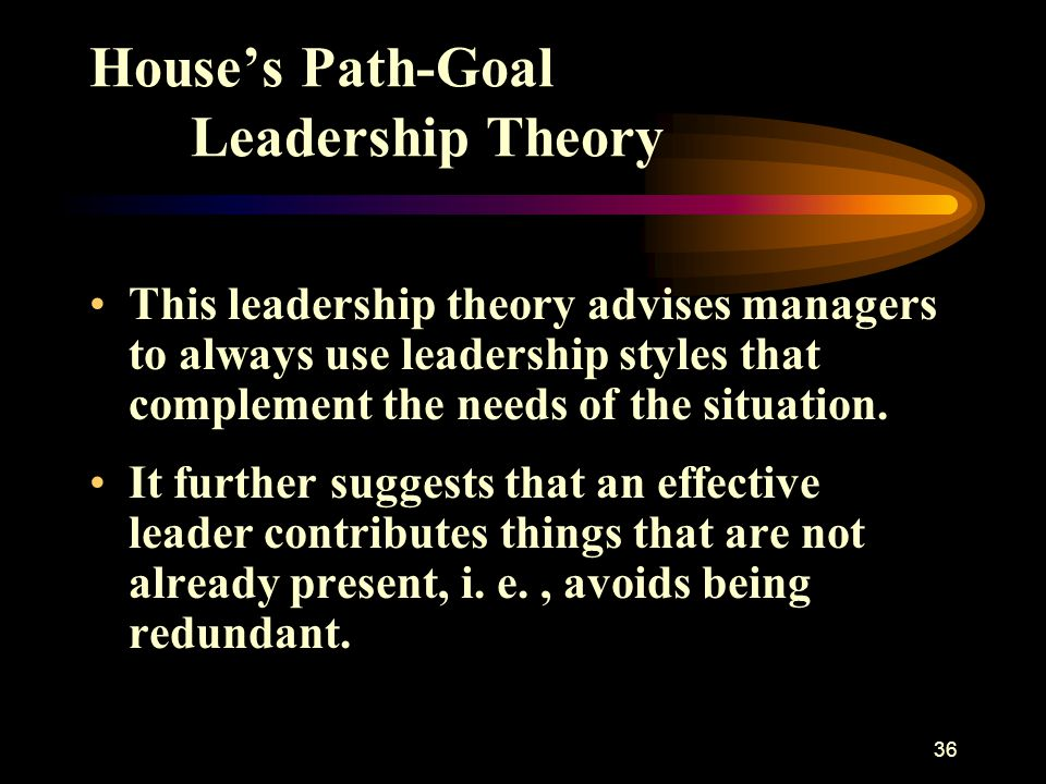 37 House's Path-Goal Leadership Theory When job assignments are unclear, the effective manager provides Directive Leadership.