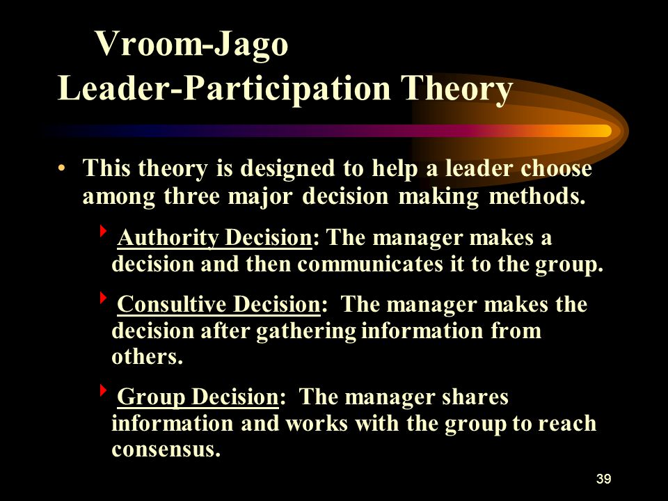 40 Vroom-Jago Leader-Participation Theory Managers Make Group Decisions When  They lack sufficient information to solve a problem by themselves.