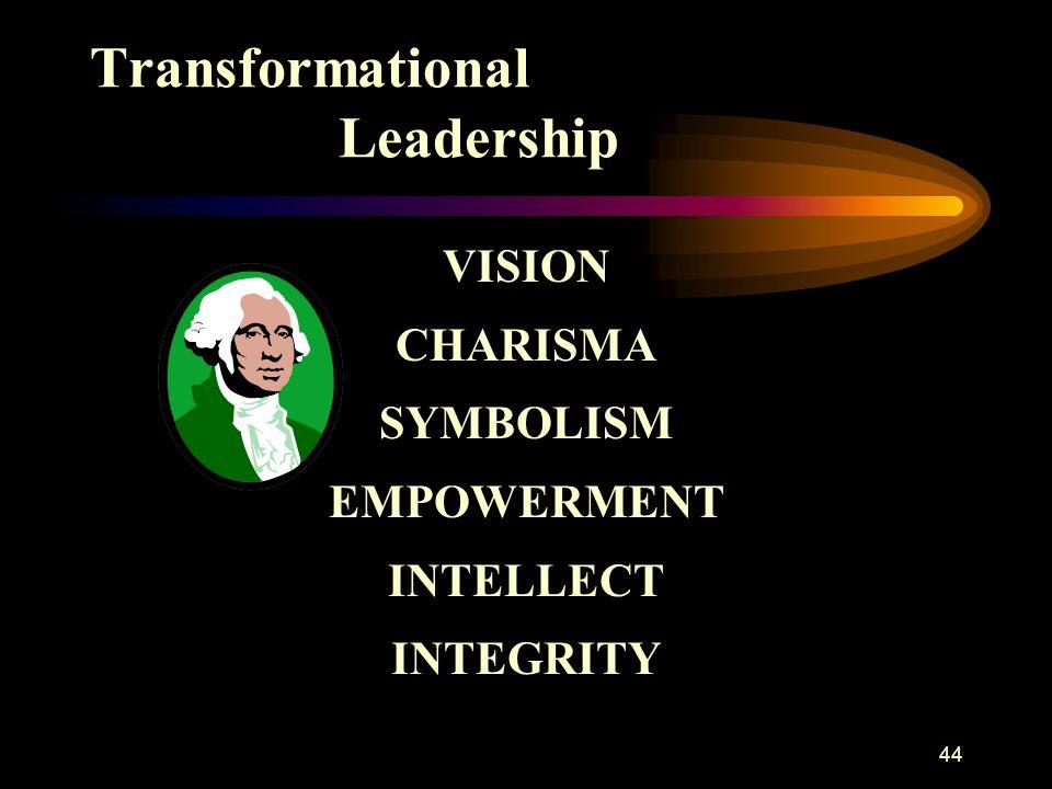 44 Transformational Leadership VISION CHARISMA SYMBOLISM EMPOWERMENT INTELLECT INTEGRITY