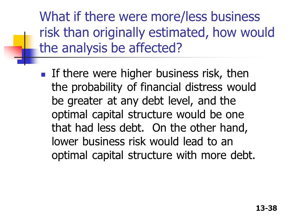 13-38 What if there were more/less business risk than originally estimated, how would the analysis be affected? If there were higher business risk, th