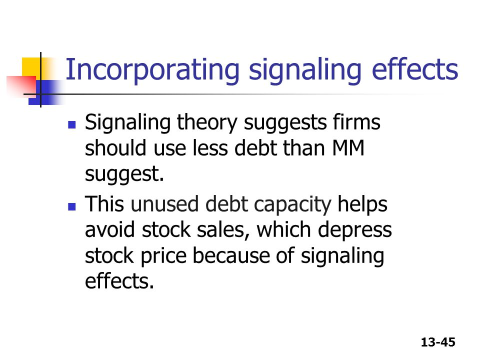 13-45 Incorporating signaling effects Signaling theory suggests firms should use less debt than MM suggest. This unused debt capacity helps avoid stoc