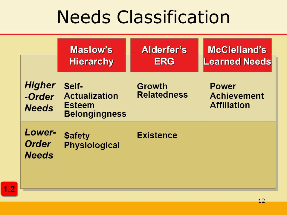 12 Needs ClassificationMcClelland's Learned Needs Alderfer'sERGMaslow'sHierarchy Higher -Order Needs Lower- Order Needs Self- Actualization Esteem Bel