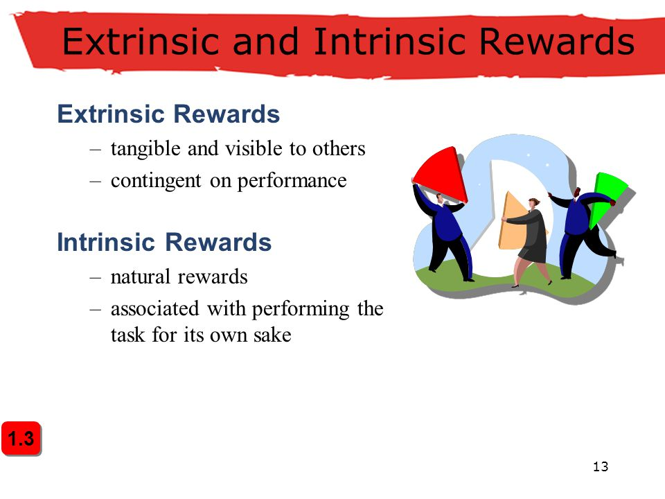 13 Extrinsic and Intrinsic Rewards Extrinsic Rewards –tangible and visible to others –contingent on performance Intrinsic Rewards –natural rewards –as