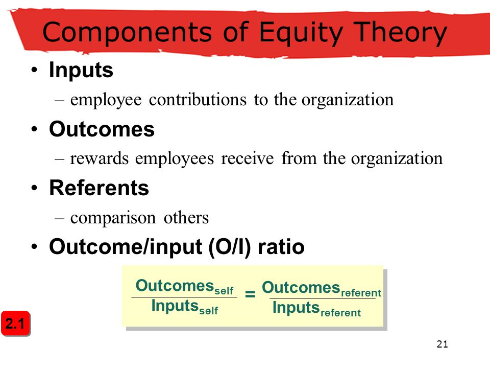 21 Components of Equity Theory Inputs –employee contributions to the organization Outcomes –rewards employees receive from the organization Referents