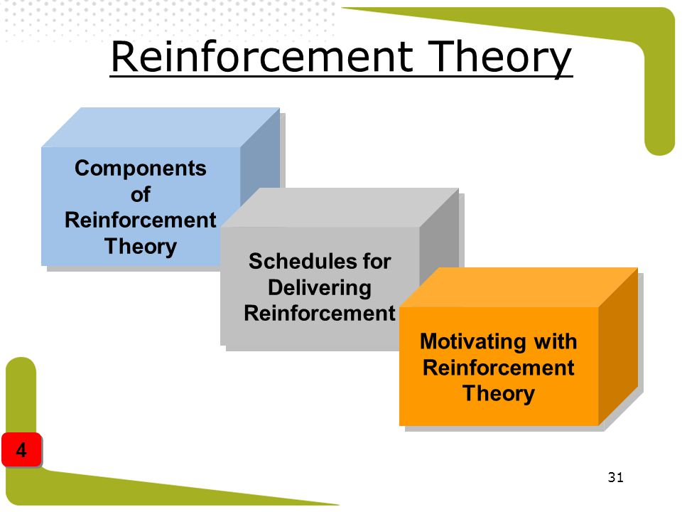 31 Reinforcement Theory Components of Reinforcement Theory Schedules for Delivering Reinforcement Schedules for Delivering Reinforcement Motivating wi