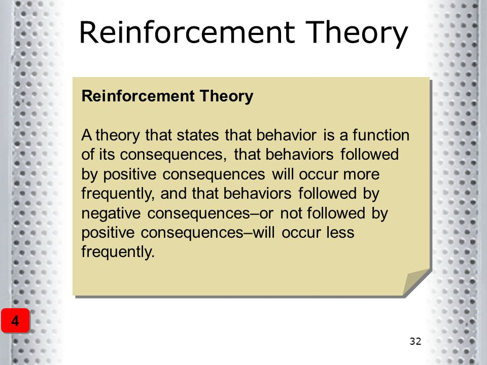 32 Reinforcement Theory A theory that states that behavior is a function of its consequences, that behaviors followed by positive consequences will oc