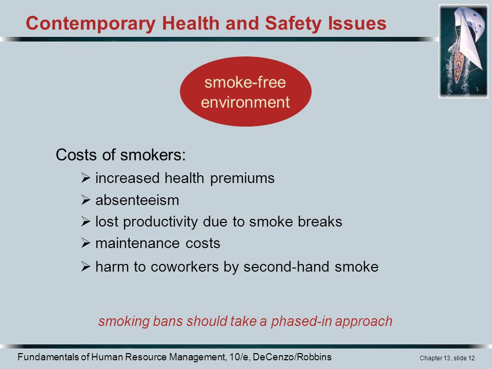 Fundamentals of Human Resource Management, 10/e, DeCenzo/Robbins Chapter 13, slide 12 Contemporary Health and Safety Issues Costs of smokers:  increased health premiums  absenteeism  lost productivity due to smoke breaks  maintenance costs  harm to coworkers by second-hand smoke smoking bans should take a phased-in approach smoke-free environment