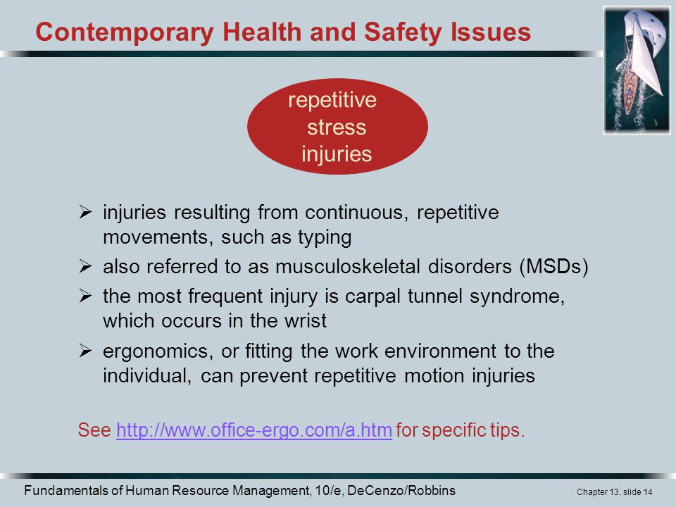 Fundamentals of Human Resource Management, 10/e, DeCenzo/Robbins Chapter 13, slide 14 Contemporary Health and Safety Issues  injuries resulting from