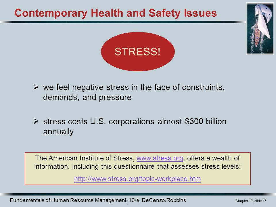 Fundamentals of Human Resource Management, 10/e, DeCenzo/Robbins Chapter 13, slide 15 Contemporary Health and Safety Issues  we feel negative stress in the face of constraints, demands, and pressure  stress costs U.S.