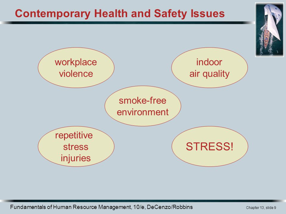 Fundamentals of Human Resource Management, 10/e, DeCenzo/Robbins Chapter 13, slide 9 Contemporary Health and Safety Issues workplace violence indoor air quality smoke-free environment repetitive stress injuries STRESS!