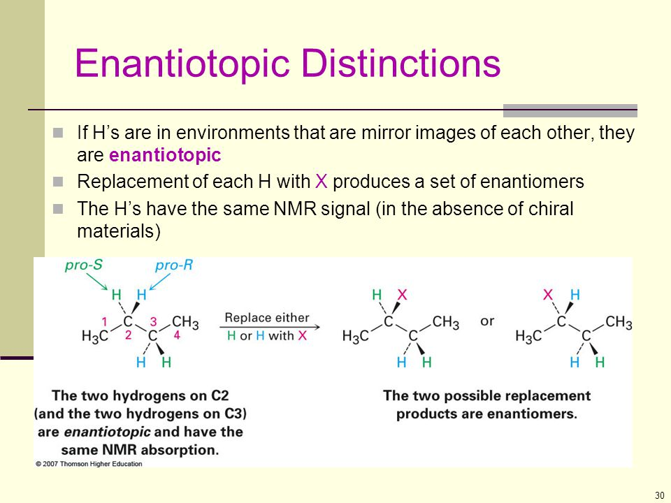 30 Enantiotopic Distinctions If H's are in environments that are mirror images of each other, they are enantiotopic Replacement of each H with X produ