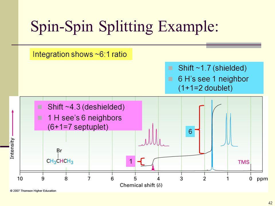 Spin-Spin Splitting Example: 42 Shift ~4.3 (deshielded) 1 H see's 6 neighbors (6+1=7 septuplet) Shift ~1.7 (shielded) 6 H's see 1 neighbor (1+1=2 doub