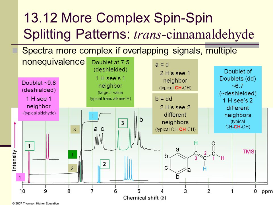 48 13.12 More Complex Spin-Spin Splitting Patterns: trans-cinnamaldehyde Spectra more complex if overlapping signals, multiple nonequivalence 1 1 1 2