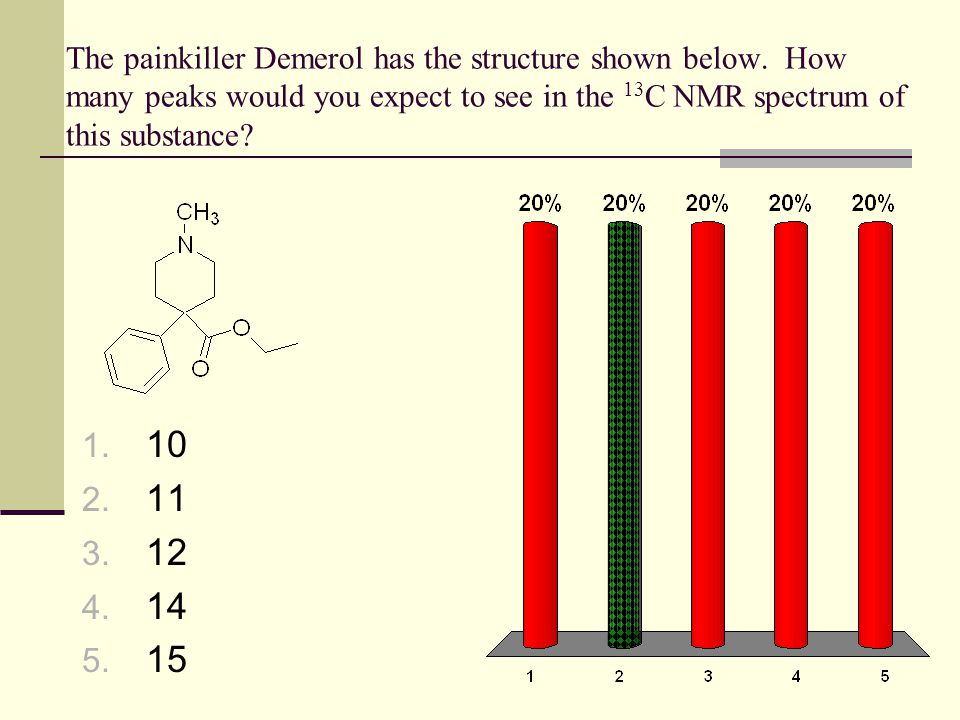 The painkiller Demerol has the structure shown below. How many peaks would you expect to see in the 13 C NMR spectrum of this substance? 1. 10 2. 11 3
